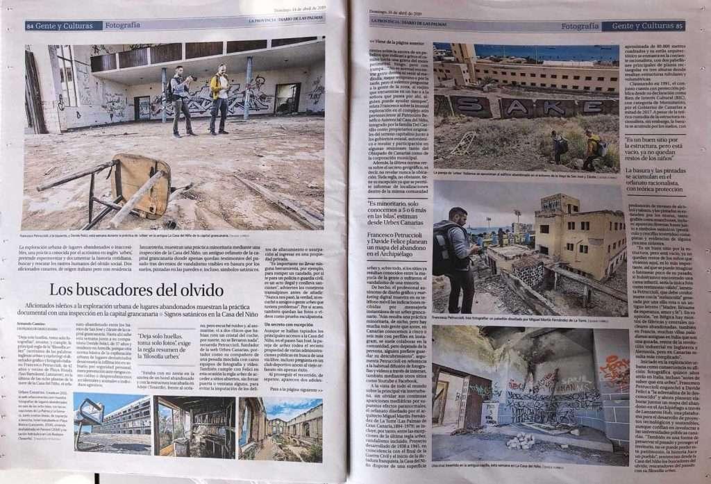 """Articulo de """"La Provincia! sobre """"Urbex Canarias"""", proyecto sobre fotografía de lugares abandonados de Francesco Petruccioli"""